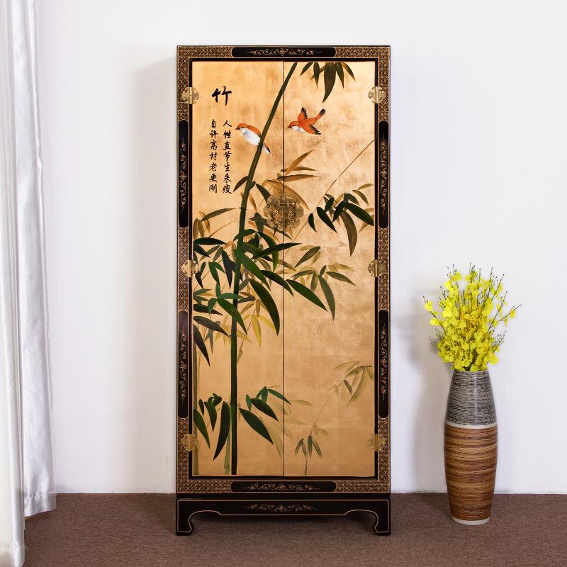 新中式古典家具手绘竹子金箔韩式衣柜卧室立柜装饰柜轻奢家具定制