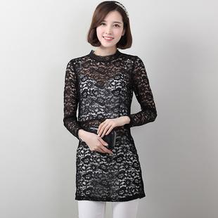 2015春夏韩版修身长袖勾花镂空中长款女装性感蕾丝雪纺打底衫女装