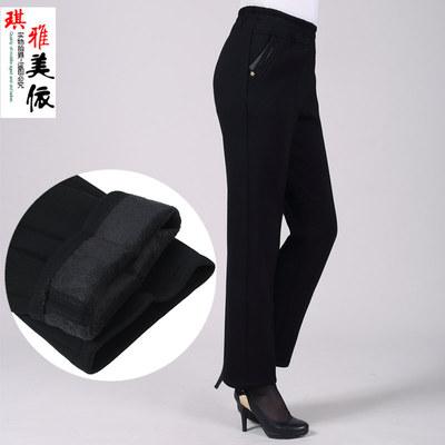 中老年棉裤加厚女冬外穿显瘦大码妈妈松紧高腰直筒裤中年加绒女裤