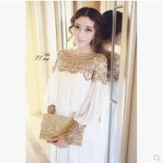 European and American retro palace of luxury Heavy beaded diamond collar long-sleeved dress stitching mopping fairy dress