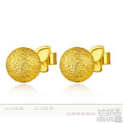 Colorful Yunnan grinding transport BEAD GOLD thousands of gold 999 Earrings Gold delicate package mail