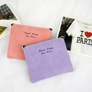The new 2015 Korean short a thin wallet frosted retro cute students Lady Ladies Wallet Purse