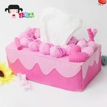 创意 蛋糕/手工不织布材料包创意礼物DIY草莓蛋糕纸巾盒套免裁剪特价包邮