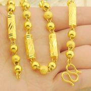 Local tyrant gold version 18K gold necklace Ms. male Necklace 24K gold six angle beads slub Necklace transport bead