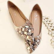 2014 new summer sweet diamond female Korean shallow mouth flat shoes comfortable shoes with diamond pointed shoes free ship