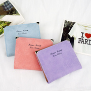 The new 2015 Korean short a thin wallet frosted cute love women students Ladies Wallet Purse