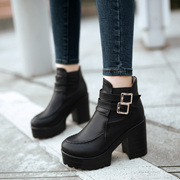 Autumn and winter shoes boots boots high heeled thick tide with female British wind Martin boots boots boots with thick bottom single short boots