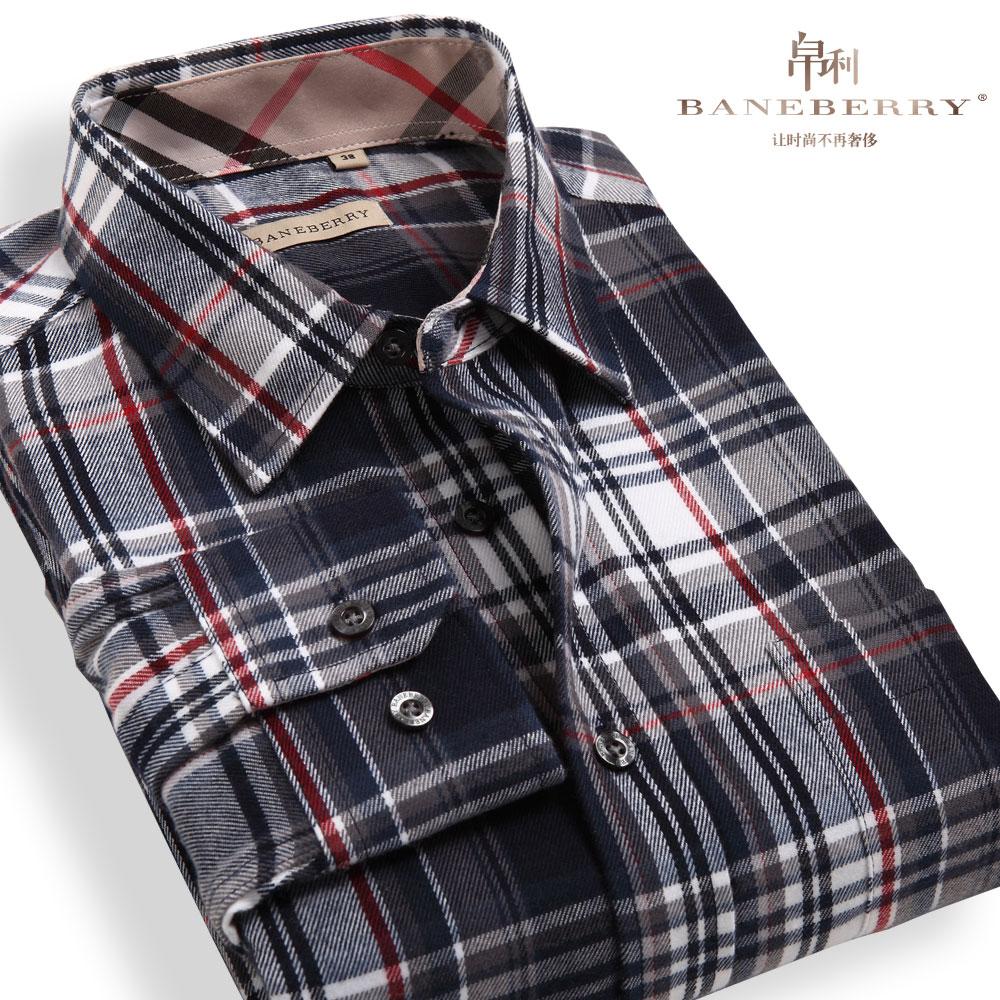 2013秋季新款男装 时尚潮流宽松休闲磨毛格子衬衣 男士长袖衬衫