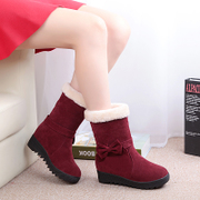 Korean heavy-bottomed increased within the boots thick warm cotton wool in the autumn and winter boots with boots shoes snow boots female students