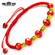 Pure thought Chinese wind gift thousand pure gold transport bead Gold Bracelet Red crystal red rope Passepartout