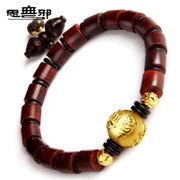Pure thought new rosewood lobular 3D hard gold six words a thousand gold transport Bead Bracelet Gold Bracelet