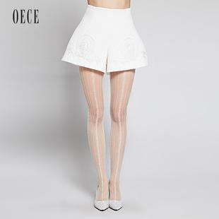 OECE 2015春装新款女装 巴洛克贴布绣A字修身提花短裤151FP219