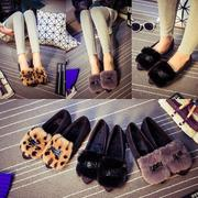 Korean version of spring and winter warm shoes shoes add peas tide flat tip single villi pregnant women shoes shoes shoes